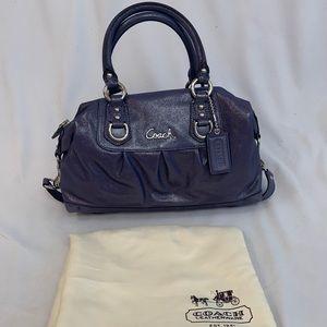 Coach Ashley Purple Glitter Sateen Satchel Handbag